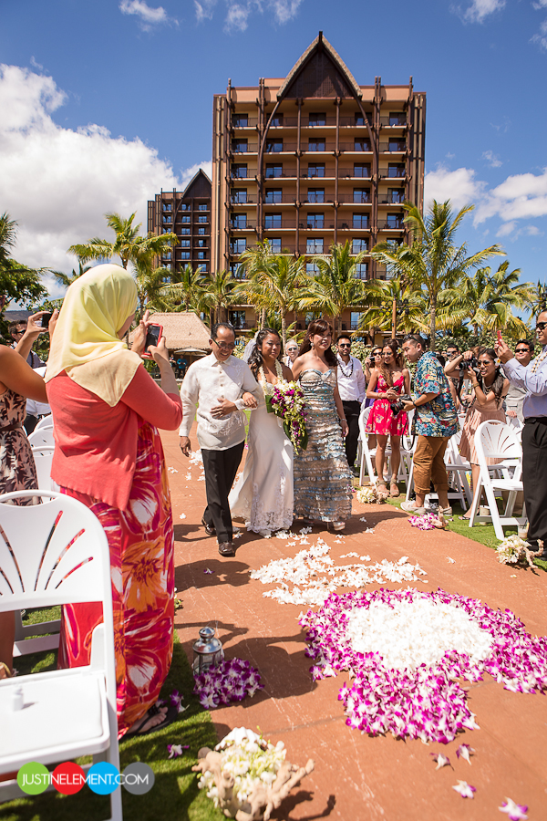 Disney Aulani Oahu Hawaii Beach Resort Wedding 1
